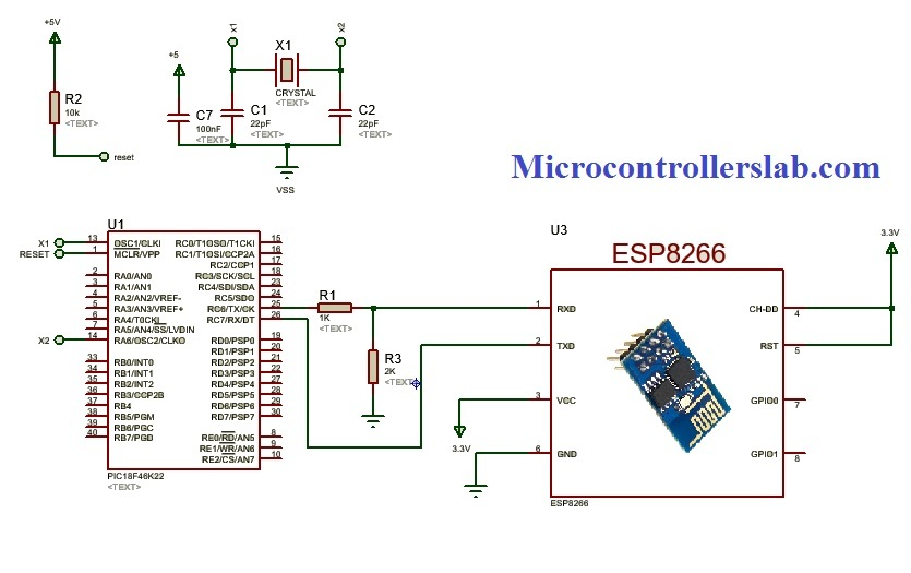 ESP8266 wifi module interfacing with pic microcontroller