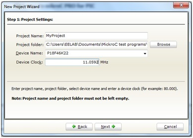 create new project in Mikro c for pic