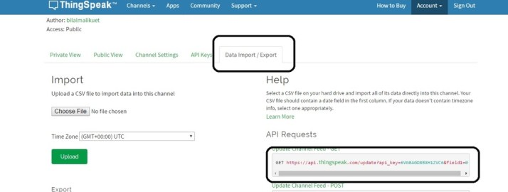ThingSpeak server new channel data import and export