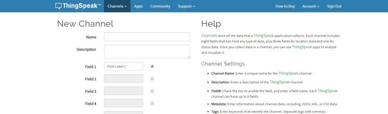 ThingSpeak server new channel