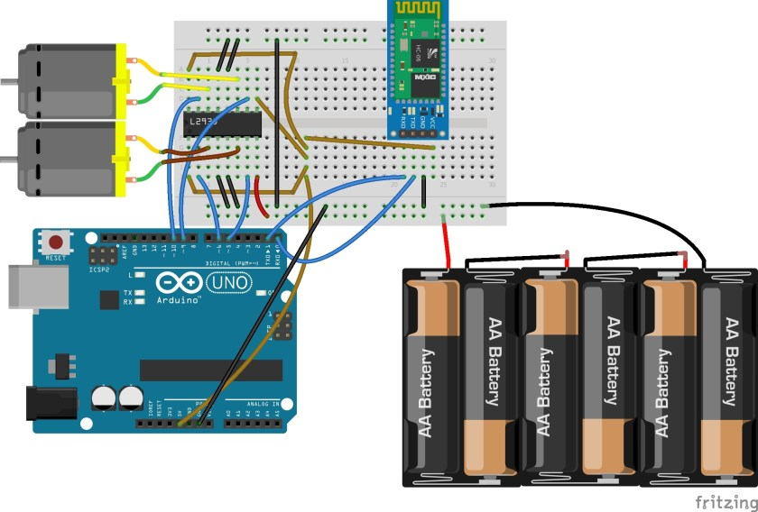 Controlling motors using bluetooth and Arduino hardware