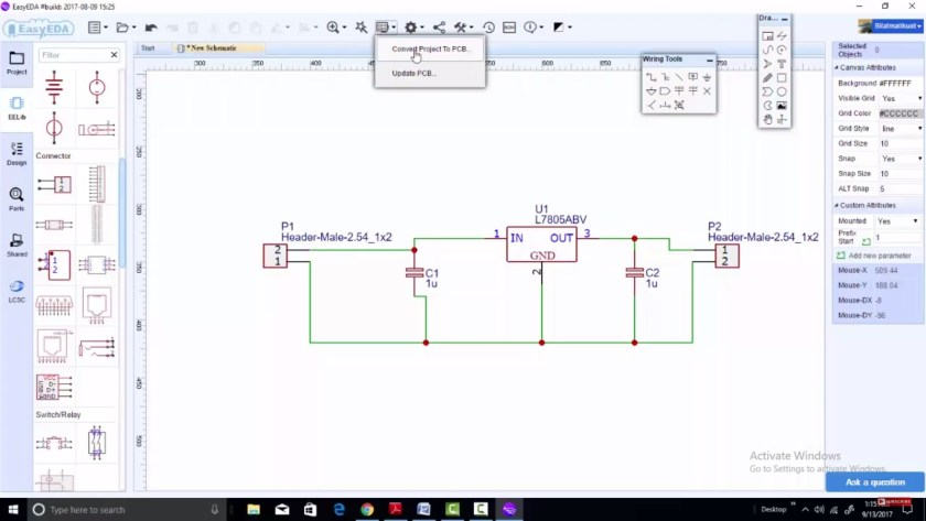 EasyEDA convert PCB to project