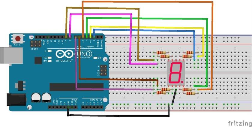 Common cathode type seven segment display interfacing with Arduino