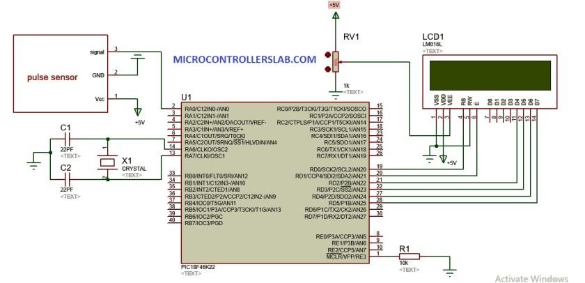 Heat beat pulse sensor interfacing with pic microcontroller