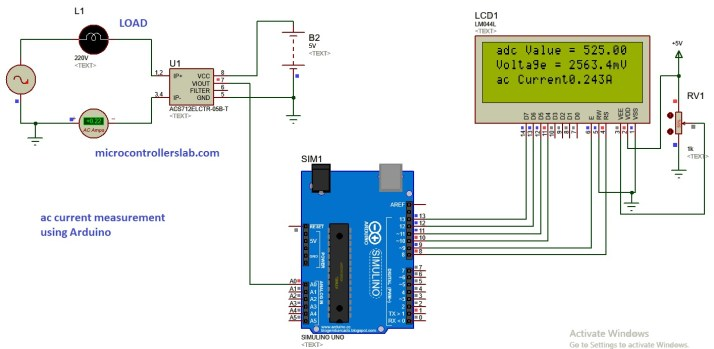 ac current measurement USING ARDUINO and hall effect sensor acs712