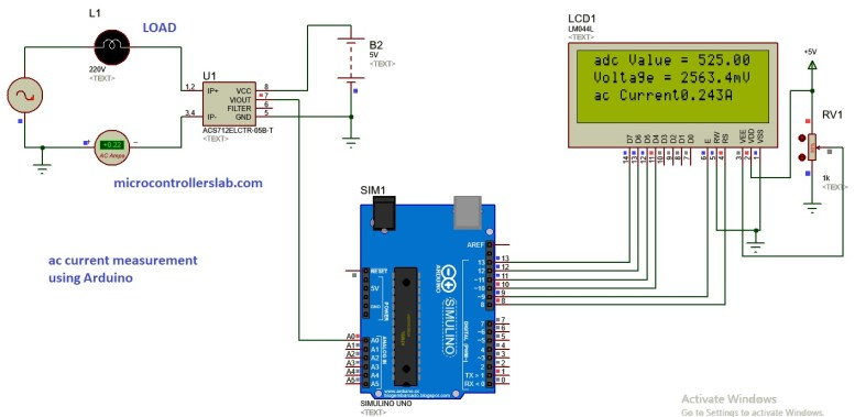 ac current measurement USING ARDUINO and hall effect sensor acs712