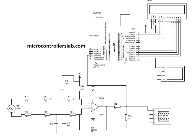 circuit diagram of ac voltage measurement using arduino