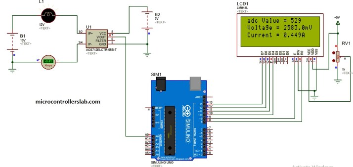 dc current measurement simulation using acs712 current sensor