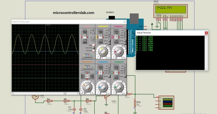 simulation of ac voltage measurement using arduino