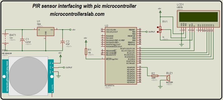 PIR sensor interfacing with pic microcontroller