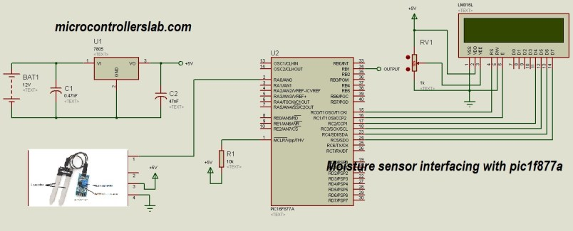 moisture sensor interfacing with pic microcontroller