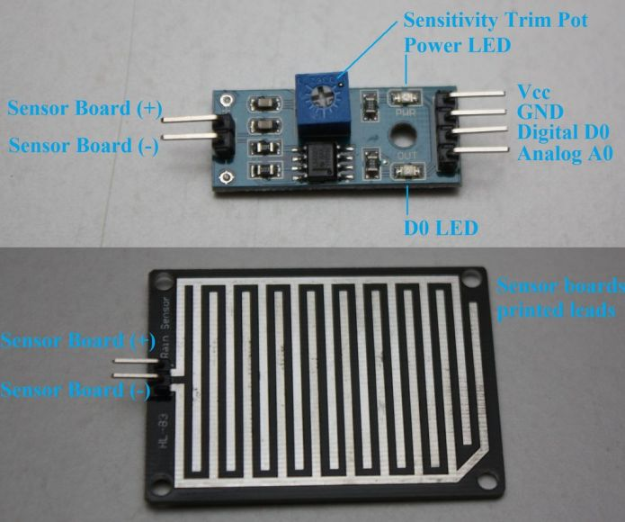 rain drop sensor module pin out