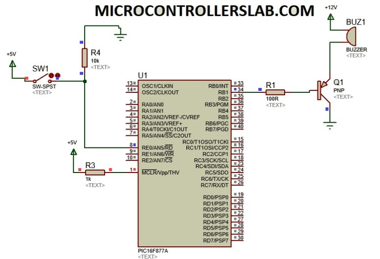 Buzzer module interfacing with pic16f877a microcontroller