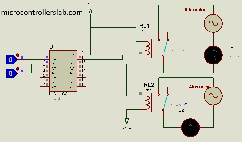 Microcontroller Interfacing To Relays Using Uln2003 Relay