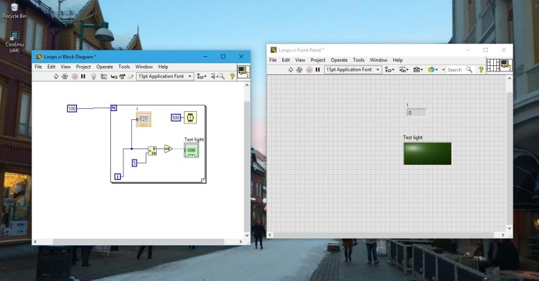 complete example with labview loops