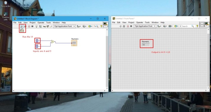 Output of addition in labview