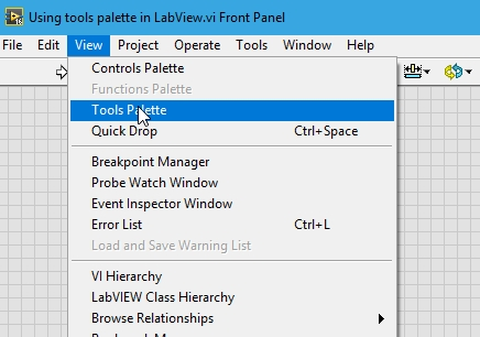 Tools palette placement labview