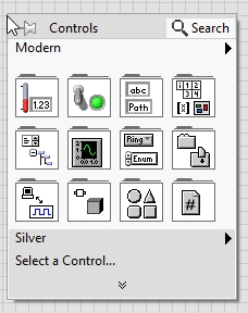 control palette in labview