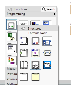 Quadratic root calculation in LabView