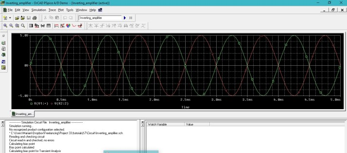 simulate inverting and non inverting amplifiers in PSpice :  tutorial 7