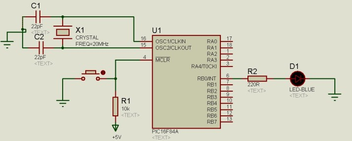 LED blinking example PIC16F84A