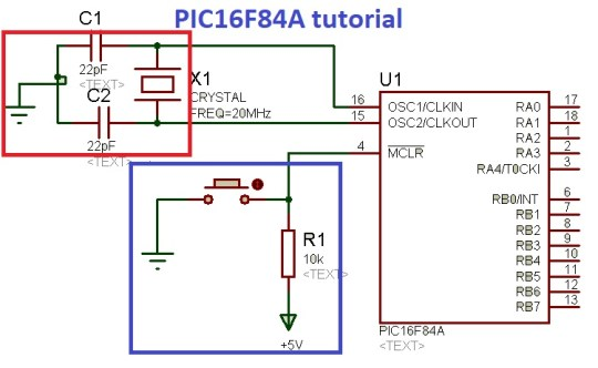 PIC16F84A oscillator and reset circuit