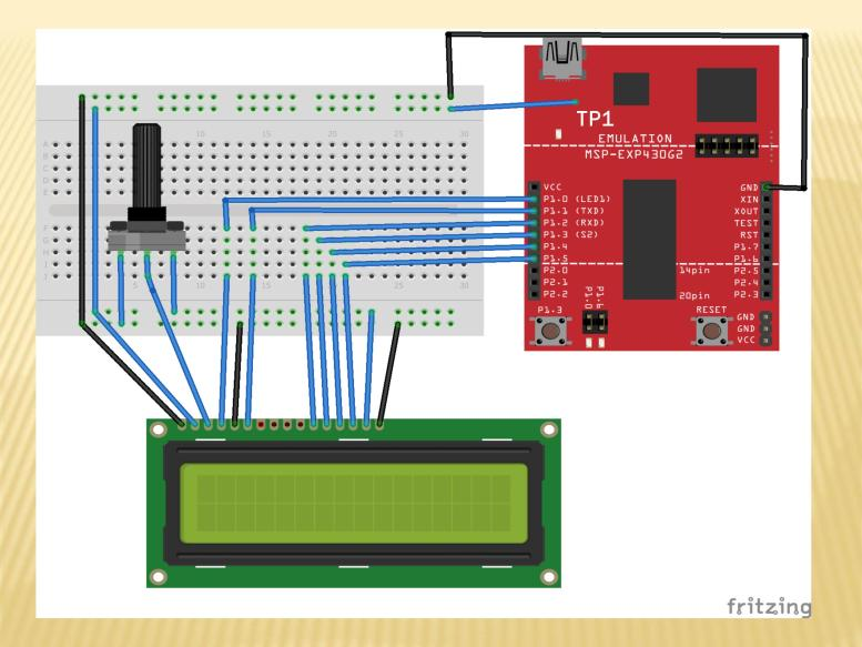 Circuit diagram LCD interfacing with MSP430 microcontroller