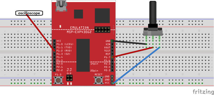 circuit diagram pulse width modulation using MSP430 microcontroller