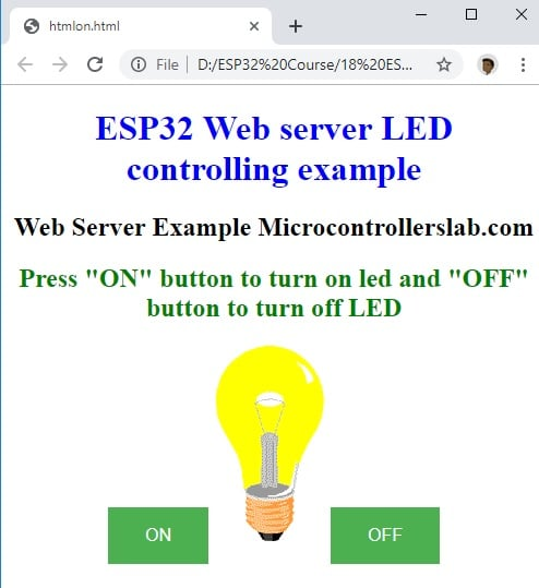 ESP32 LAMP ON WEB SERVER