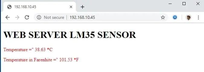 LM35 temperature sesnor esp32 web server