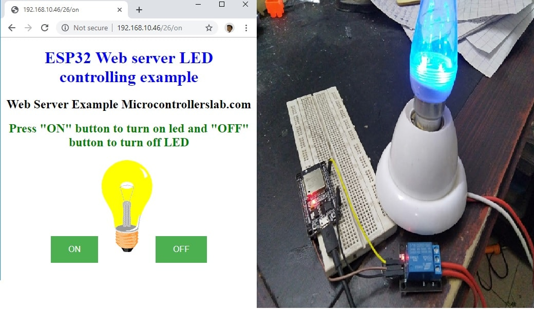 ESP32 web server control relay and 220 volt lamp
