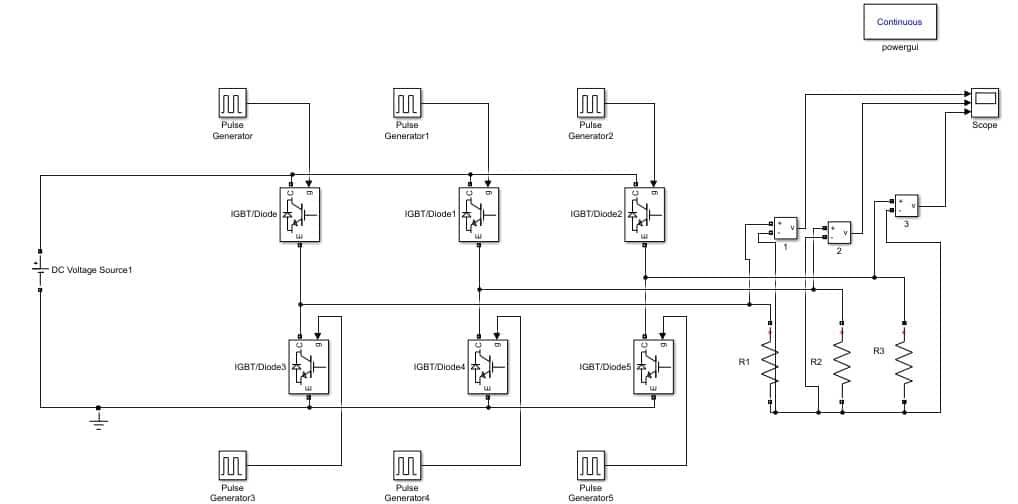 Design Three Phase Inverter using Simulink MATLAB