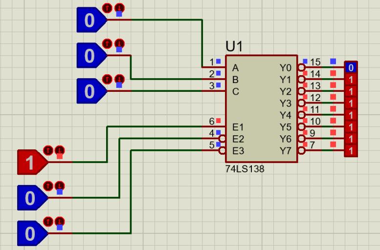 74LS138 proteus example