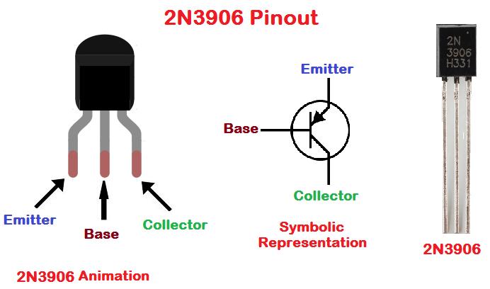 2N3906 Pinout configuration diagram