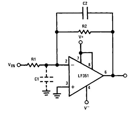 LF351 high input impedance inverting amplifier