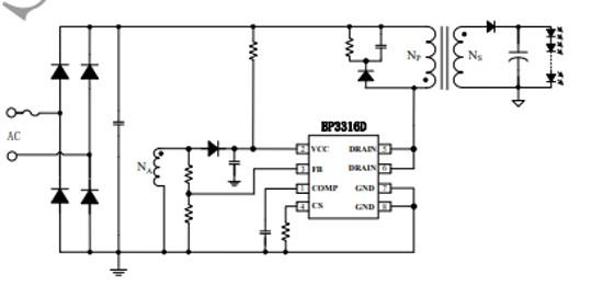 BP3316D APFC Offline LED Driver example circuit
