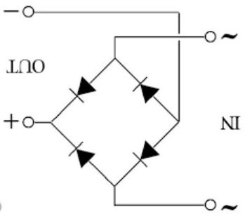 Full bridge configuration with four diodes