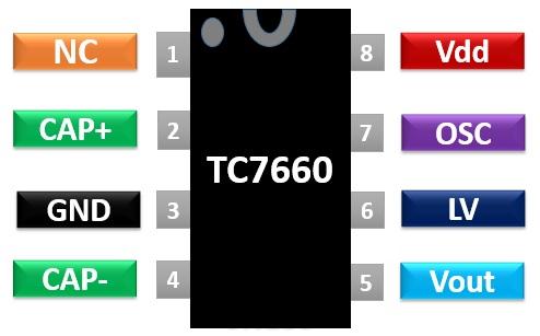 TC7660 voltage regulator pinout diagram