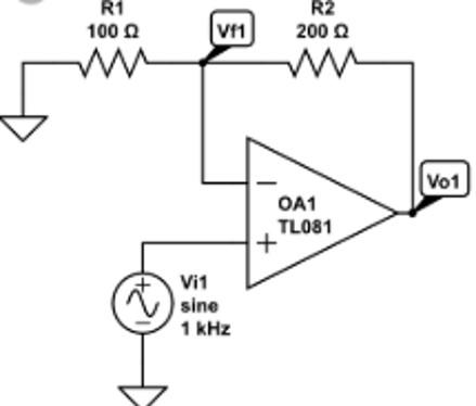TL081 as a non-inverting amplifier Example