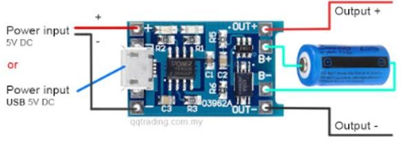 TP4056A battery charger module connection diagram