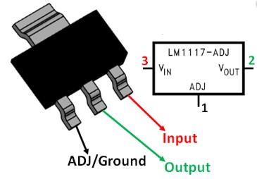LM1117 Voltage Regulator pinout diagram