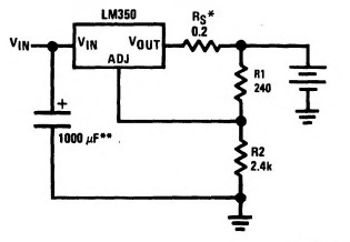 LM350 battery charger circuit example