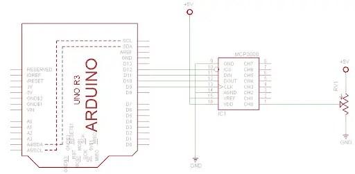 MCP3008 Interfacing with Arduino