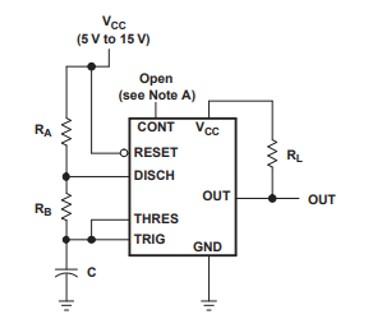 NE556 Astable operation Circuit Example
