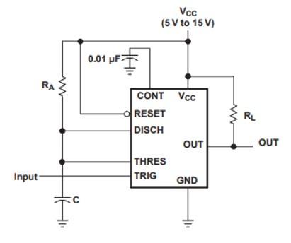 NE556 Monostable operation Circuit Example