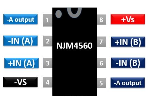 NJM4560 dual operational amplifier pinout diagram
