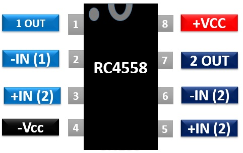 RC4558 Pinout Diagram
