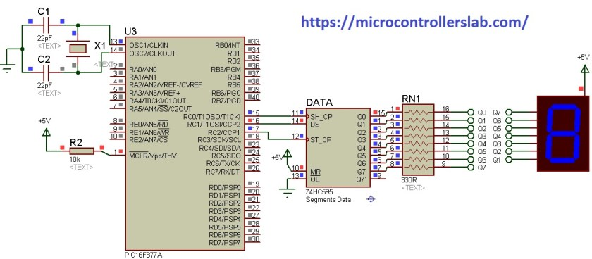 74HC595 interfacing with 7-segment display and Pic Microcontroller