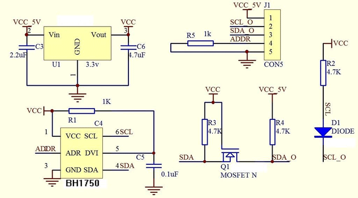 BH1750 light sensor internal circuit