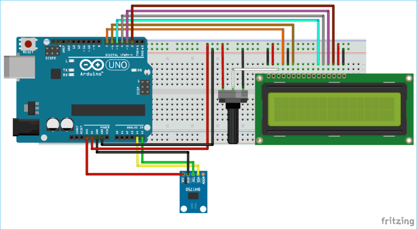 Circuit diagram interfacing of BH1750 with Arduino